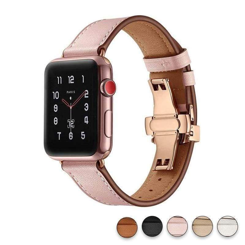 accessories Pink / 38mm / 42mm Apple Watch Series 5 4 3 2 Band, Genuine Leather, Rose Gold Connectors & Buckle, fits Nike, hermes 38mm, 40mm, 42mm, 44mm - US Fast Shipping