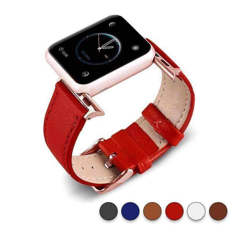 Accessories Red / 38mm/40mm Apple Watch Series 5 4 3 2 Band, Best iWatch Genuine Leather simple Watchband, Rose Gold Adaptor connector & buckle for 38mm, 40mm, 42mm, 44mm