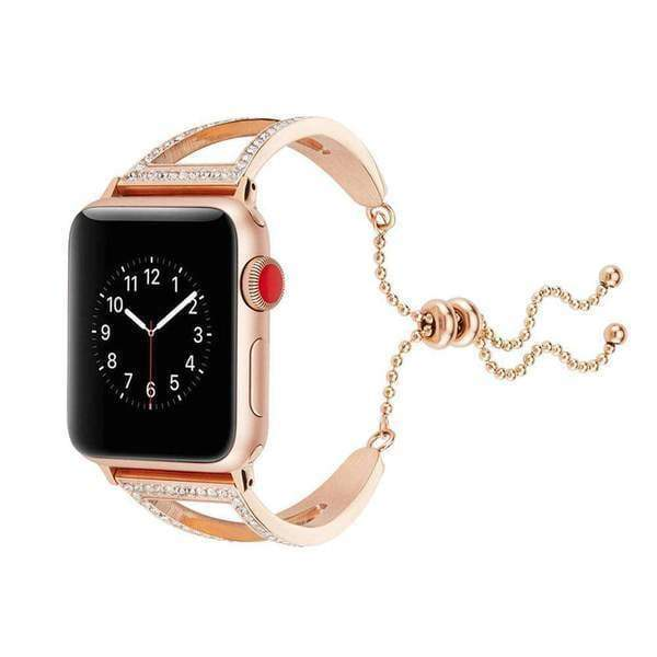 Accessories Rose Gold 1 / 38mm/40mm Apple watch cuff band,  Bling Luxury Crystal Diamond iWatch cuff bangle,  Stainless Steel, 44mm, 40mm, 42mm, 38mm, Series 1 2 3 4