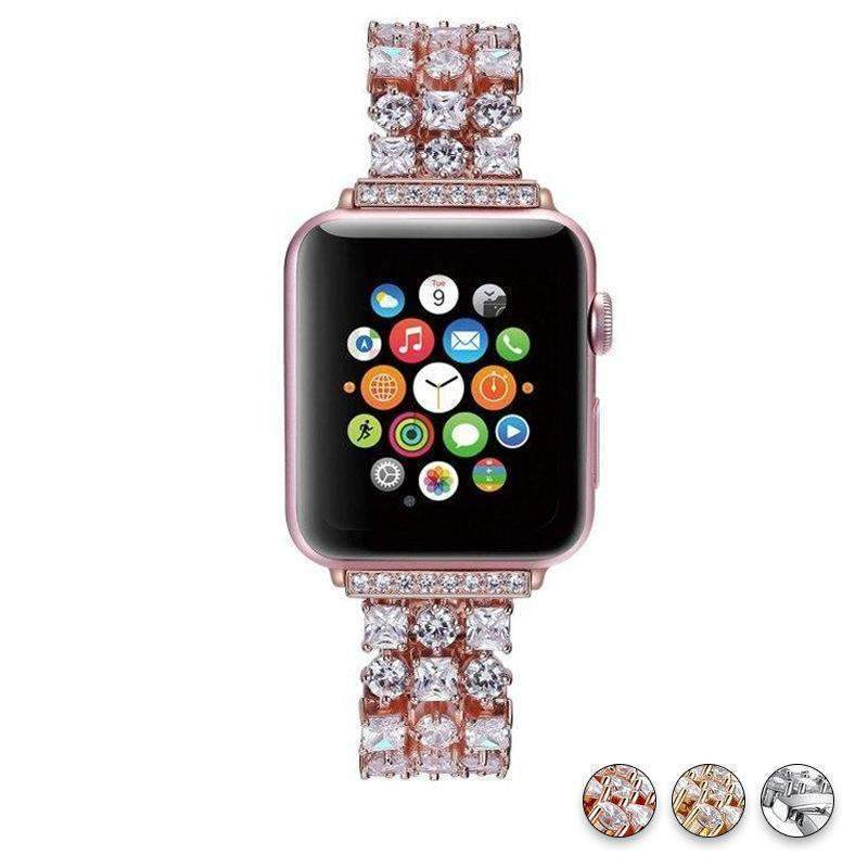 Accessories Rose Gold / 38mm/40mm Apple Watch crystal band, Luxury Bling Diamond Bracelet,  Rhinestone Stainless Steel Strap 44mm/ 40mm/ 42mm/ 38mm, iWatch Series 1 2 3 4