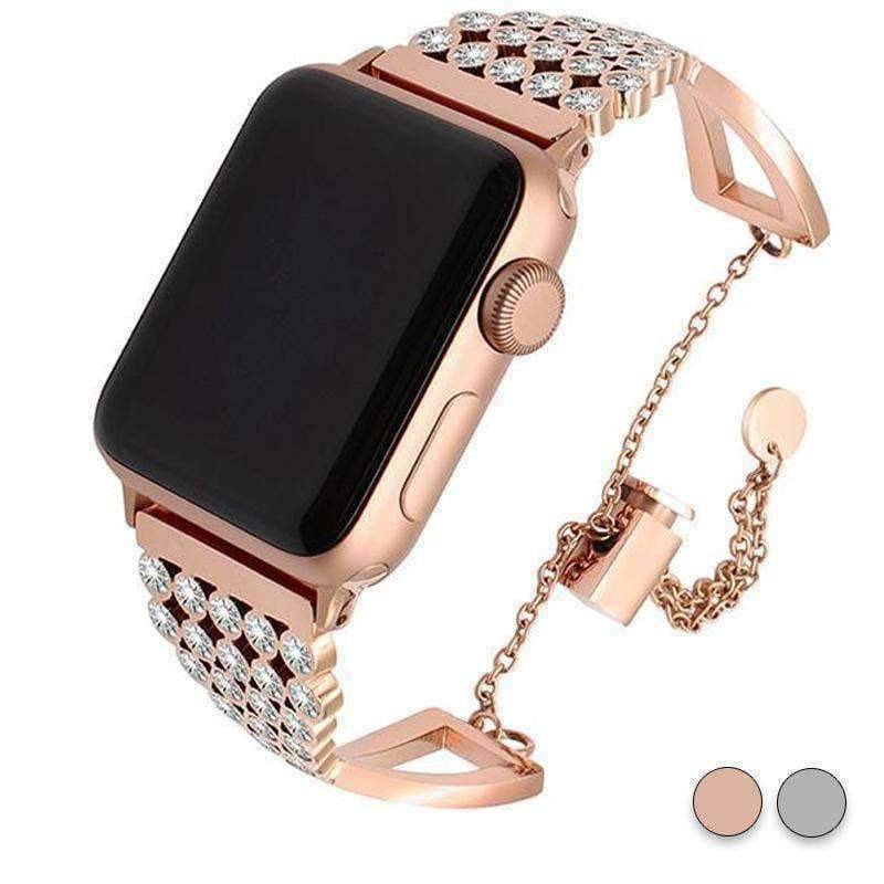Accessories Rose Gold / 38mm/40mm Apple watch cuff band,  Bling Luxury Crystal Diamond iWatch cuff bangle,  Stainless Steel, 44mm, 40mm, 42mm, 38mm, Series 1 2 3 4