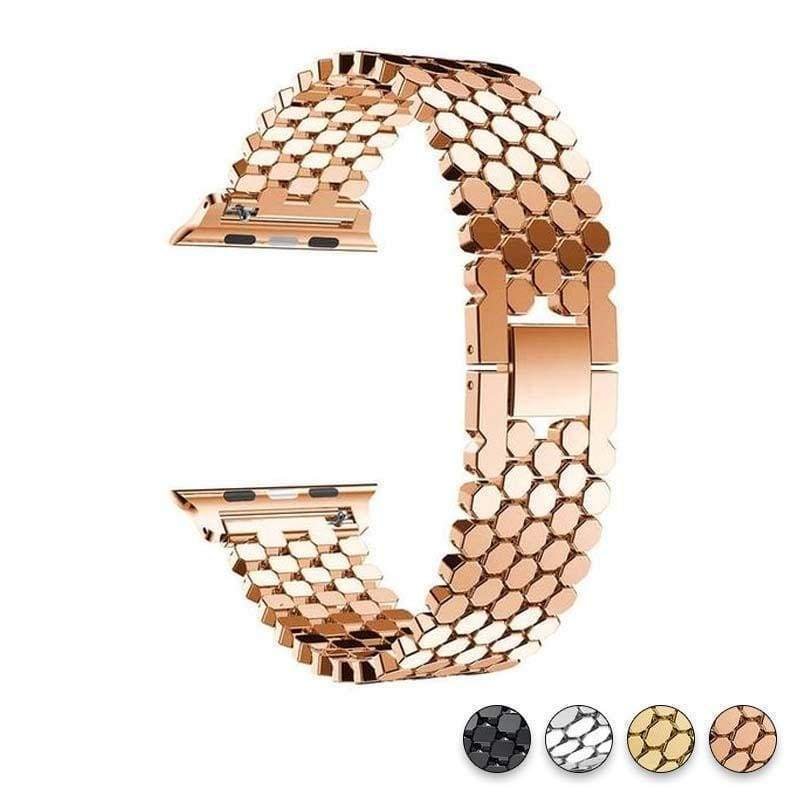 Accessories Rose Gold / 38mm/40mm Apple Watch Series 5 4 3 2 Band, Hexagon Strap, Stainless Steel, iWatch, Watchbands, 38mm, 40mm, 42mm, 44mm -  US fast shipping
