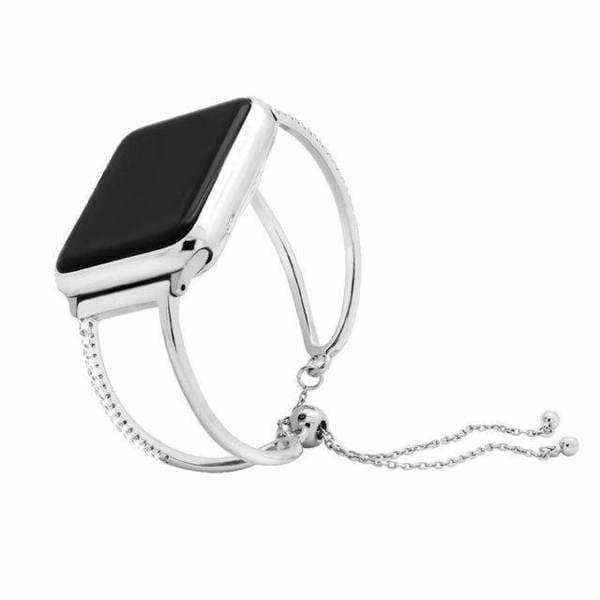Accessories Silver 2 / 38mm/40mm Apple watch cuff band,  Bling Luxury Crystal Diamond iWatch cuff bangle,  Stainless Steel, 44mm, 40mm, 42mm, 38mm, Series 1 2 3 4