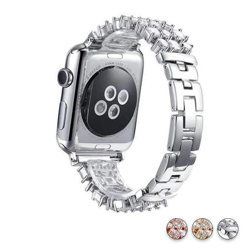 Accessories Silver / 38mm/40mm Apple Watch crystal band, Luxury Bling Diamond Bracelet,  Rhinestone Stainless Steel Strap 44mm/ 40mm/ 42mm/ 38mm, iWatch Series 1 2 3 4