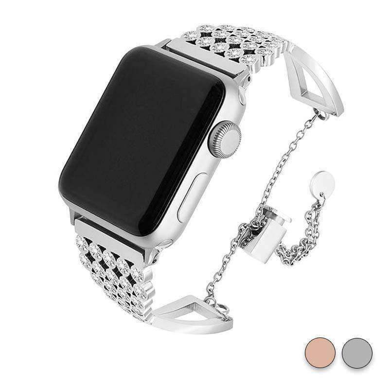 Accessories Silver / 38mm/40mm Apple watch cuff band,  Bling Luxury Crystal Diamond iWatch cuff bangle,  Stainless Steel, 44mm, 40mm, 42mm, 38mm, Series 1 2 3 4