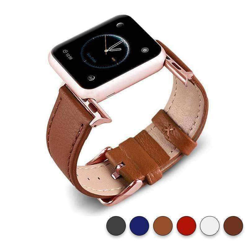 Accessories Tan / 38mm/40mm Apple Watch Series 5 4 3 2 Band, Best iWatch Genuine Leather simple Watchband, Rose Gold Adaptor connector & buckle for 38mm, 40mm, 42mm, 44mm