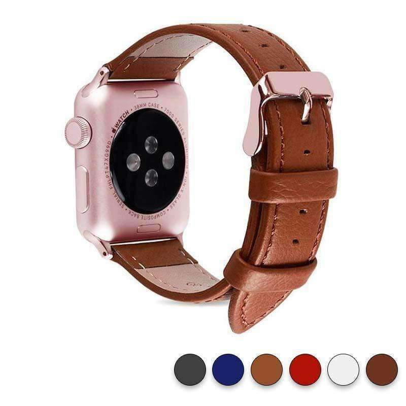 Accessories Tan / 42mm/44mm Apple Watch Series 5 4 3 2 Band, Best iWatch Genuine Leather simple Watchband, Rose Gold Adaptor connector & buckle for 38mm, 40mm, 42mm, 44mm