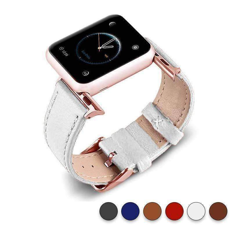 Accessories White / 38mm/40mm Apple Watch Series 5 4 3 2 Band, Best iWatch Genuine Leather simple Watchband, Rose Gold Adaptor connector & buckle for 38mm, 40mm, 42mm, 44mm