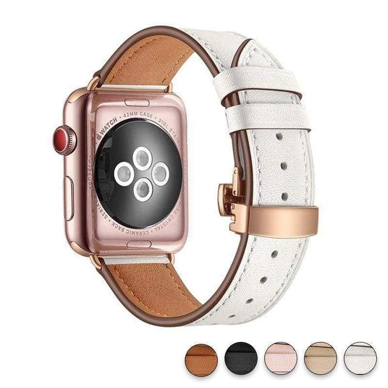 accessories White / 38mm / 42mm Apple Watch Series 5 4 3 2 Band, Genuine Leather, Rose Gold Connectors & Buckle, fits Nike, hermes 38mm, 40mm, 42mm, 44mm - US Fast Shipping