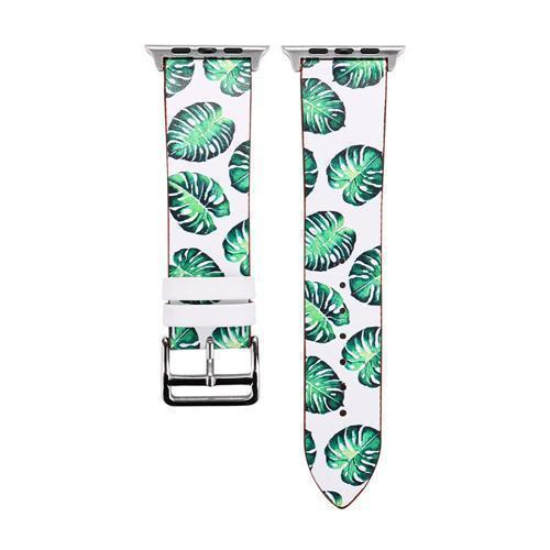 Accessories White and Green / 38mm/40mm Apple Watch band strap, flower floral design print, 44mm/ 40mm/ 42mm/ 38mm , Series 1 2 3 4