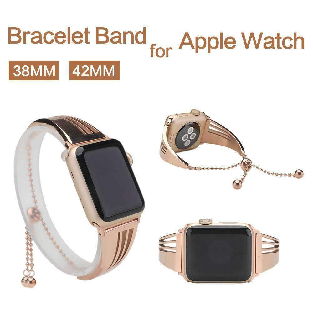 Apple Apple Watch band cuff, Stainless Steel strap, Fits Series 1 2 3 4 5 44mm, 40mm, 42mm, 38mm Luxury iwatch Bracelet