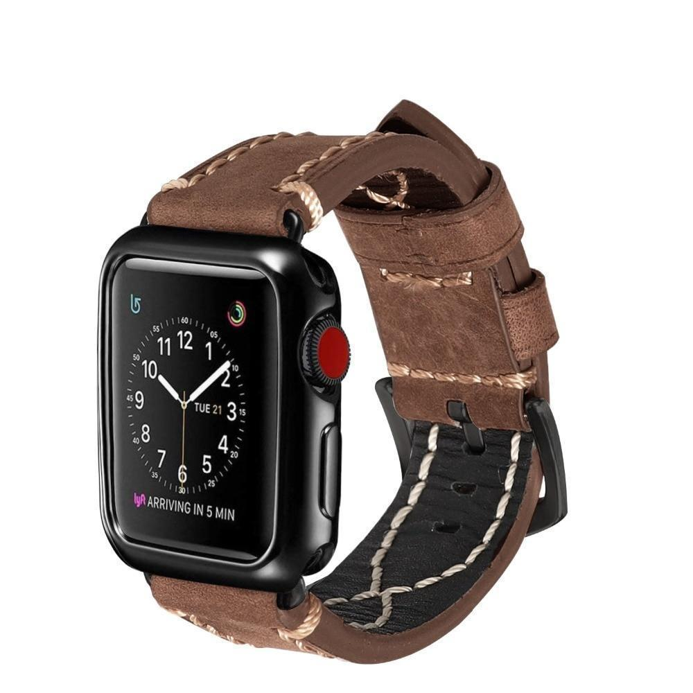 Apple Apple Watch Band handmade Cowboy Calf Leather Watch  38mm 40mm 42mm 44mm Series 4 3 2 iWatch strap