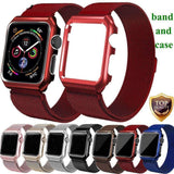 Apple Apple Watch band Milanese mesh magnetic Loop stainless steel metal Strap & Watch Case bundle  42mm 44mm iwatch 4/3/2/1 38mm 40 mm Bracelet Watchband - USA Fast Shipping