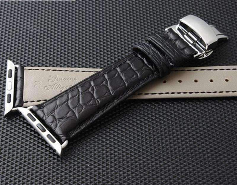 Apple Apple Watch Series 5 4 3 2 Band, Genuine Crocodile Leather, Silver Butterfly Buckle Strap Black and Brown 38mm, 40mm, 42mm, 44mm
