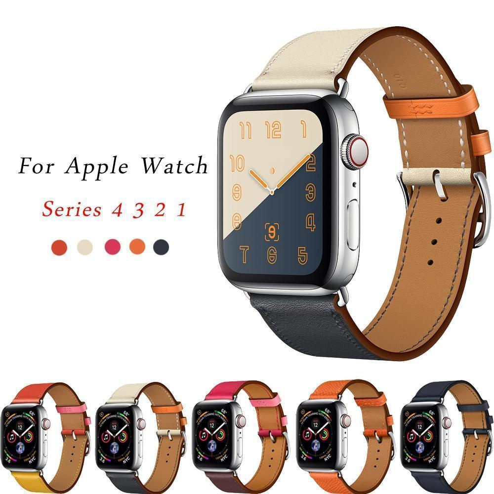 Apple Apple Watch Series 5 4 3 2 Band, Leather Single Tour Strap, Bracelet iWatch 38mm, 40mm, 42mm, 44mm - US Fast Shipping