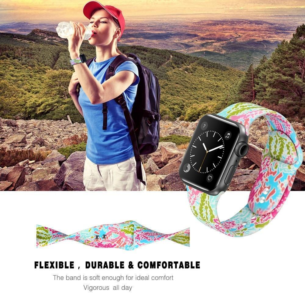 Apple Apple Watch Series 5 4 3 2 Band, Lily inspired Sport Band, Bohemian Leopard Flower Rainbow Double Side Print Silicone Strap 38mm, 40mm, 42mm, 44mm