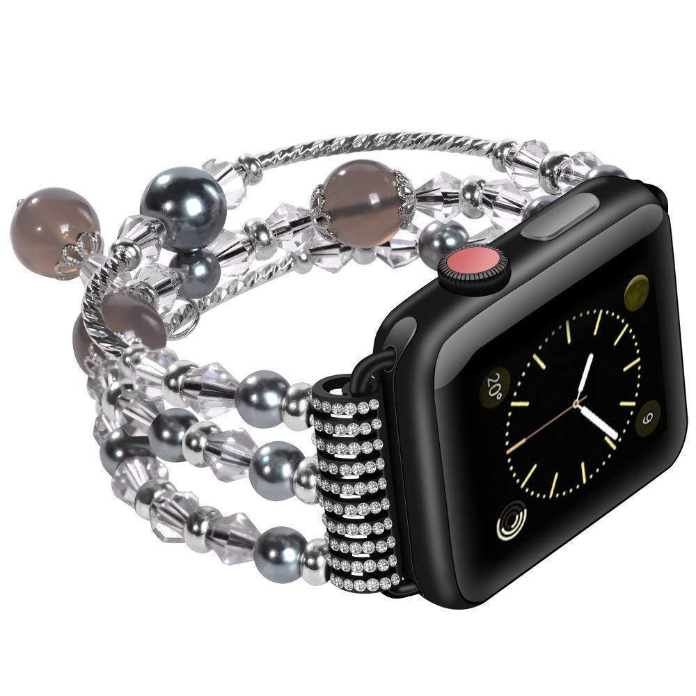 Apple Apple Watch Series 5 4 3  Band, Agate Beads Pearl Bracelet stretch Strap, iWatch Women Watchband Adapters 38mm, 40mm, 42mm, 44mm