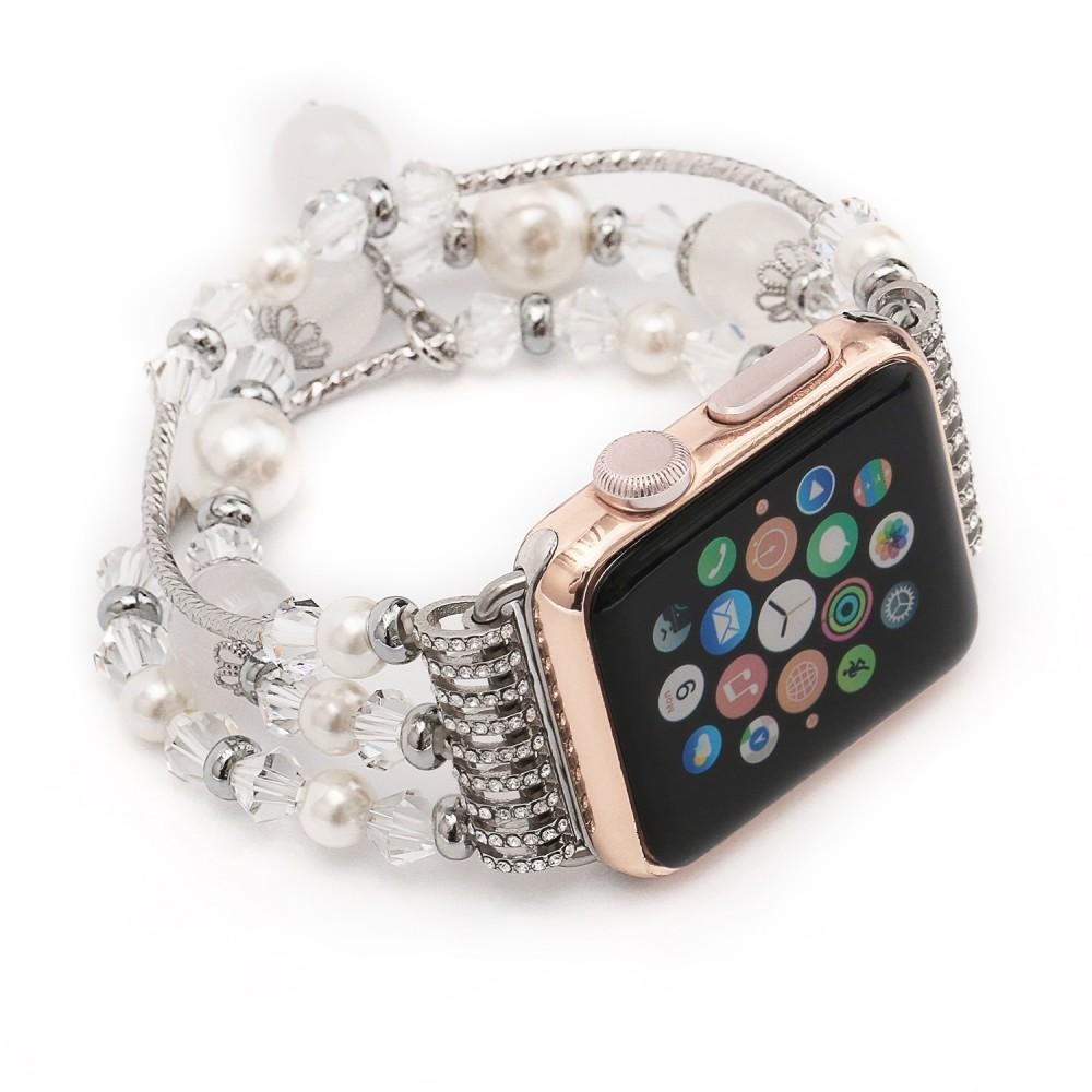 Apple Apple Watch Series 5 4 3  Band, Agate Beads Pearl Bracelet stretch Strap, iWatch Women Watchband Adapters 38mm, 40mm, 42mm, 44mm , US Fast Shipping