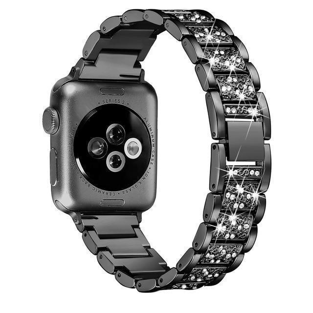 Apple black / 38mm/40mm Apple Watch bling band, women Diamond rhinestone stainless steel strap bracelet, iWatch series 5 4 3 , 40mm 44mm 38mm 42mm