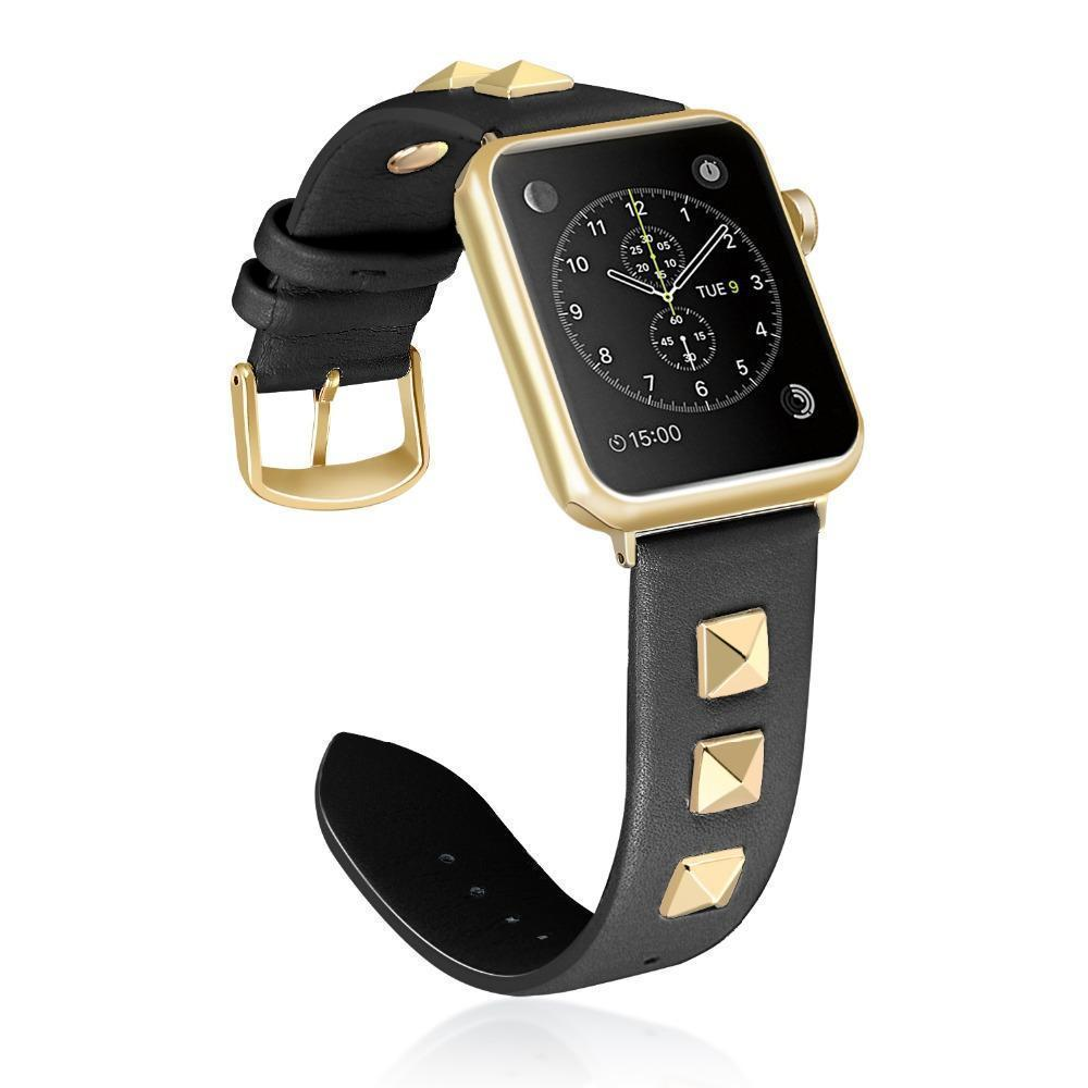 Apple Black / 38mm / 40mm Apple Watch Series 5 4 3 2 Band, Punk gold Studded Leather Rivets Design, fits iWatch, 38mm, 40mm, 42mm, 44mm