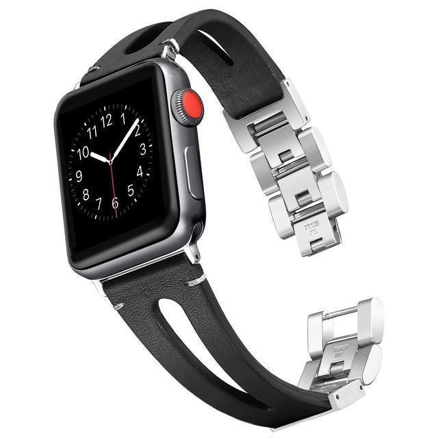 Apple black / 38mm and 40mm Faux Leather watch band for Apple Watch Bands 38mm 42mm 40mm 44mm Bracelet for iWatch Series 4 3 2 1 women/Men