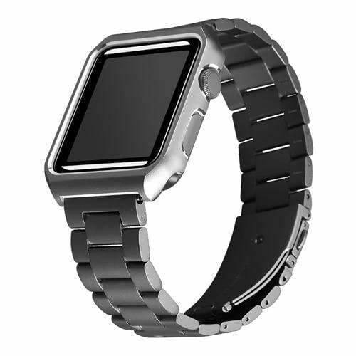 Apple black / 38mm Apple watch band case stainless steel  strap 42mm/38 metal bracelet for iwatch series 1/2/3 - USA Fast Shipping