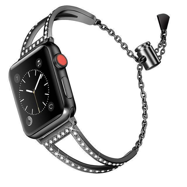 Apple black / 38mm Apple Watch Series 5 4 3 2 Band, New Diamond Watch Bands, Stainless Steel Strap Women Bracelet 38mm, 40mm, 42mm, 44mm - US Fast Shipping