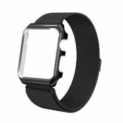 Apple black / 38mm band case Apple Watch band Milanese mesh magnetic Loop stainless steel metal Strap & Watch Case bundle  42mm 44mm iwatch 4/3/2/1 38mm 40 mm Bracelet Watchband - USA Fast Shipping