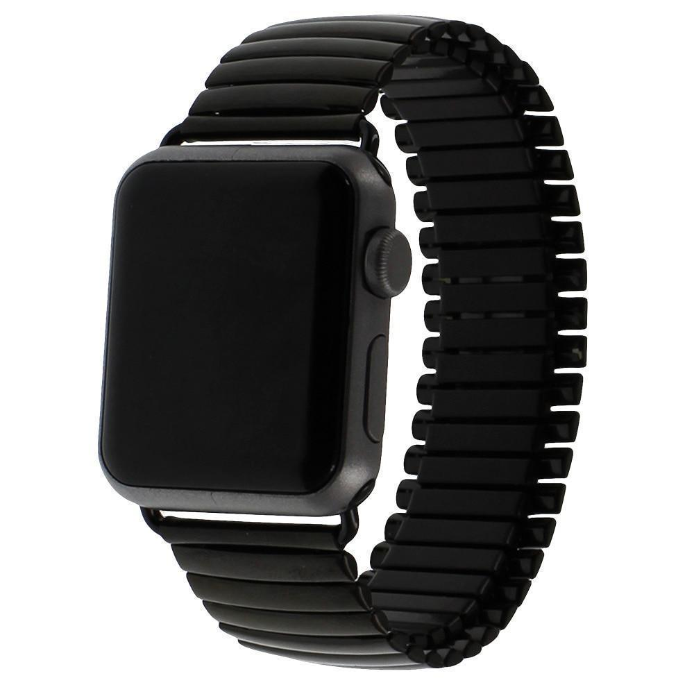 Apple Black / 38mm Elastic Watchband Stainless Steel for Apple Watch 38mm 42mm iWatch 1/2/3/4 All Versions 40mm 44mm Metal Strap Strech Band Loop