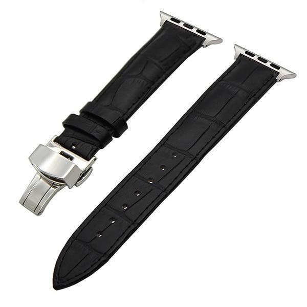 Apple Black / 38mm Faux Leather Watchband for 38mm 40mm 42mm 44mm iWatch Apple Watch Series 4 3 2 1 Band Butterfly Buckle Strap Bracelet