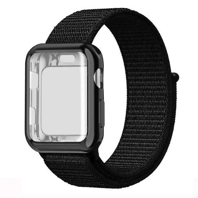 Apple black / 38mm Nylon Sport Loop band with case For Apple Watch 38mm 42mm 40mm 44mm screen protector iWatch series 4 3 2 1 sport bracelet strap