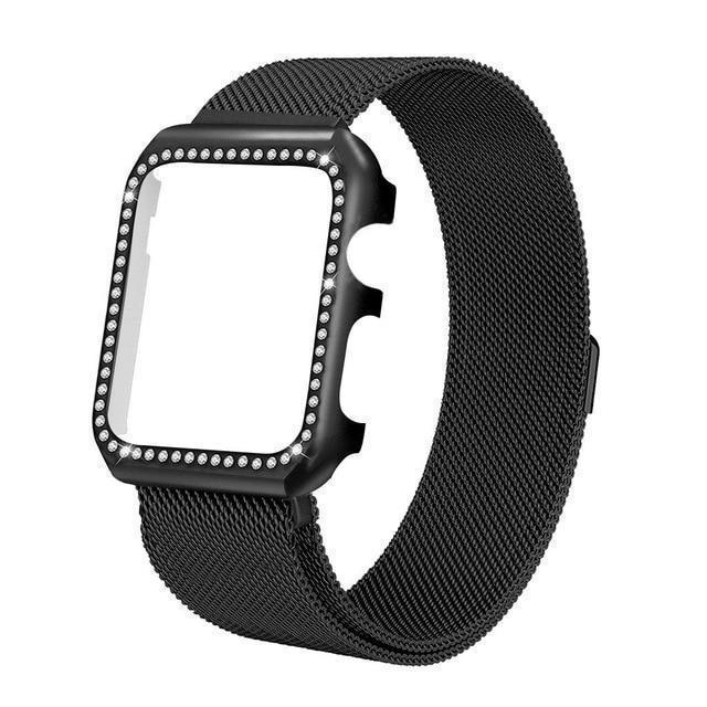 Apple black / 38mm Strap & Diamond Case Apple Watch bundle 38mm 40mm 44mm 42mm Stainless Steel band Milanese Loop Bracelet for iWatch 4 3 2 1