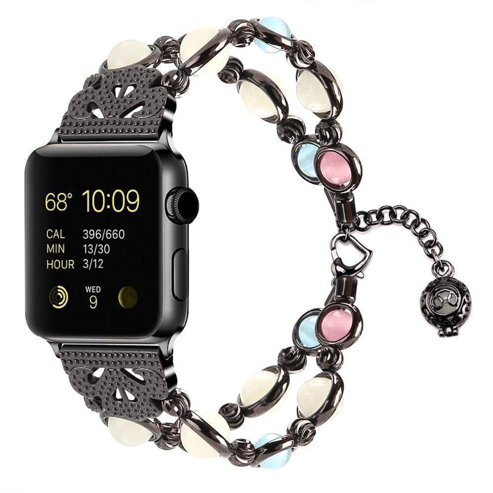 Apple Black / 42mm / 44mm Apple Watch Series 5 4 3 2 Band, Beaded Luminous Glow in dark 38mm, 40mm, 42mm, 44mm - US Fast shipping