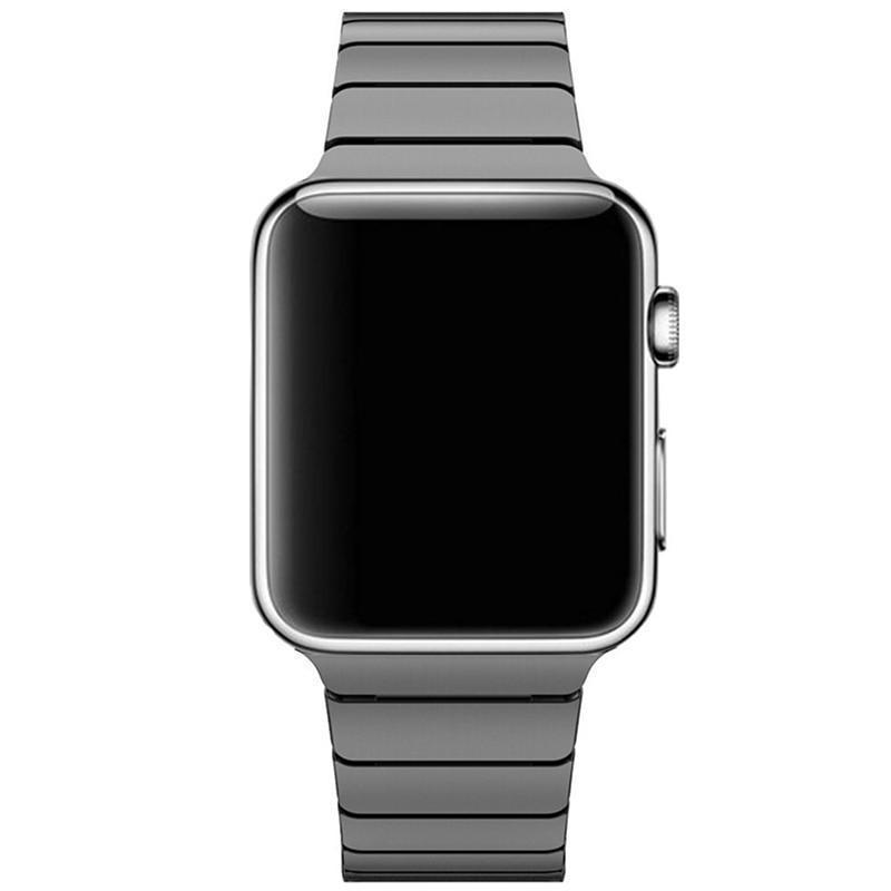 Apple Black / 42mm / 44mm Apple Watch Series 5 4 3 2 Band, Luxury Stainless Steel Link Bracelet Minimal band with adapters 38mm, 40mm, 42mm, 44mm - US Fast Shipping