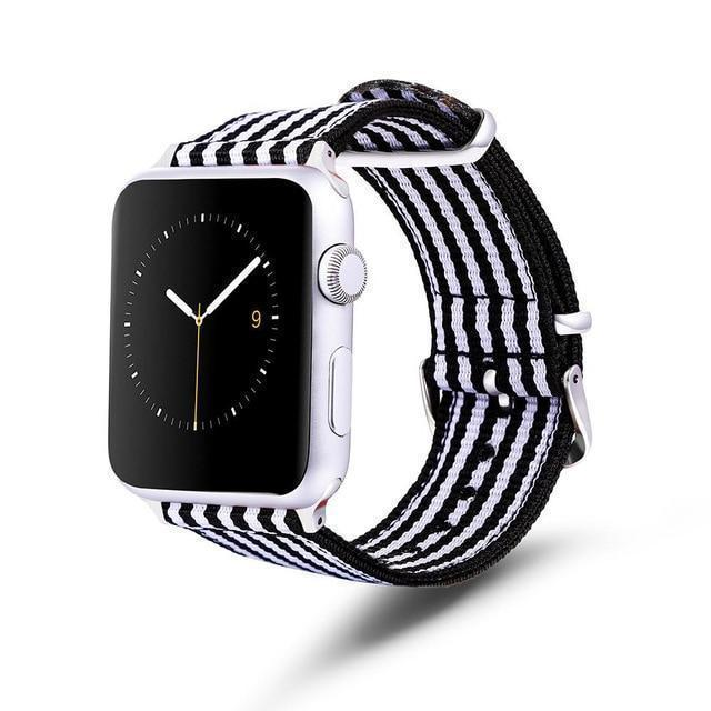 Apple Black and  white / 42mm / 44mm Apple Watch Series 5 4 3 2 Band, Nylon Rainbow Sport Smart Watch Strap 38mm, 40mm, 42mm, 44mm