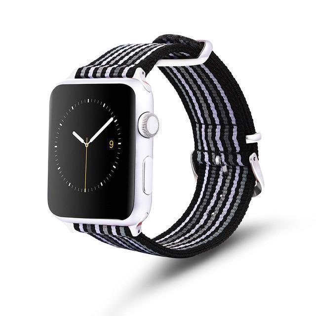 Apple Black and white gray / 42mm / 44mm Apple Watch Series 5 4 3 2 Band, Nylon Rainbow Sport Smart Watch Strap 38mm, 40mm, 42mm, 44mm