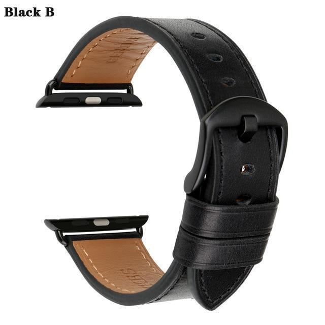 Apple Black B / For Apple Watch 38mm Watch Accessories Genuine Leather For Apple Watch Band 44mm 40mm & Apple Watch Bands 42mm 38mm Series 4 3 2 1 Watch Strap
