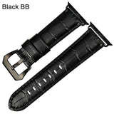 Apple Black BB / For Apple Watch 38mm Watchbands genuine cow leather watch strap for Apple Watch Band 42mm 38mm series 4 1 iwatch 4 44mm 40mm  watch bracelet