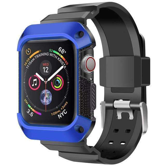 Apple black blue / 38mm/40mm Apple Watch band Sport Case strap silicone waterproof For  44mm 40mm iwatch Series 4 correa Rugged TPU screen Protective cover & bracelet wrist belt