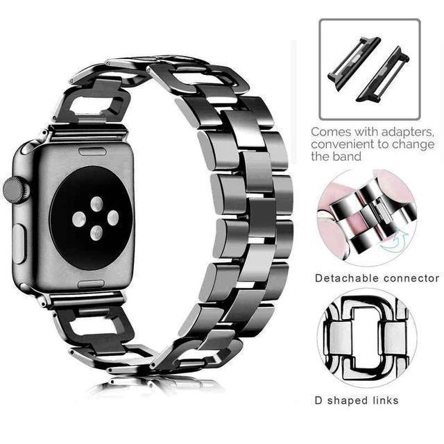 Apple Black / For 38mm and 40mm Apple Watch Series 5 4 3 2 Band, Upgarded Strap Metal Replacement Wristband Sport Strap for Nike+ 38mm, 40mm, 42mm, 44mm