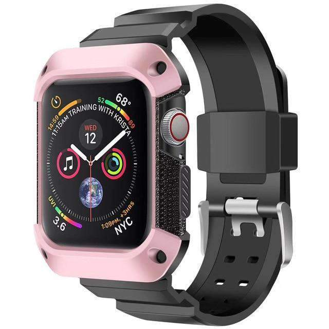 Apple black pink / 38mm/40mm Apple Watch band Sport Case strap silicone waterproof For  44mm 40mm iwatch Series 4 correa Rugged TPU screen Protective cover & bracelet wrist belt