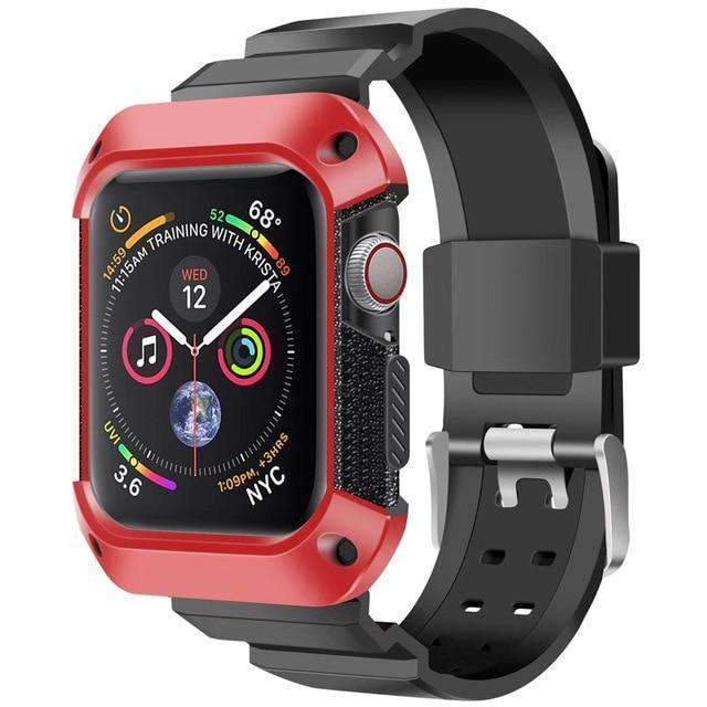 Apple black red / 38mm/40mm Apple Watch band Sport Case strap silicone waterproof For  44mm 40mm iwatch Series 4 correa Rugged TPU screen Protective cover & bracelet wrist belt