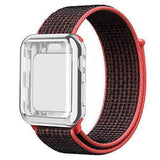 Apple black-red / 38mm Nylon Sport Loop band with case For Apple Watch 38mm 42mm 40mm 44mm screen protector iWatch series 4 3 2 1 sport bracelet strap