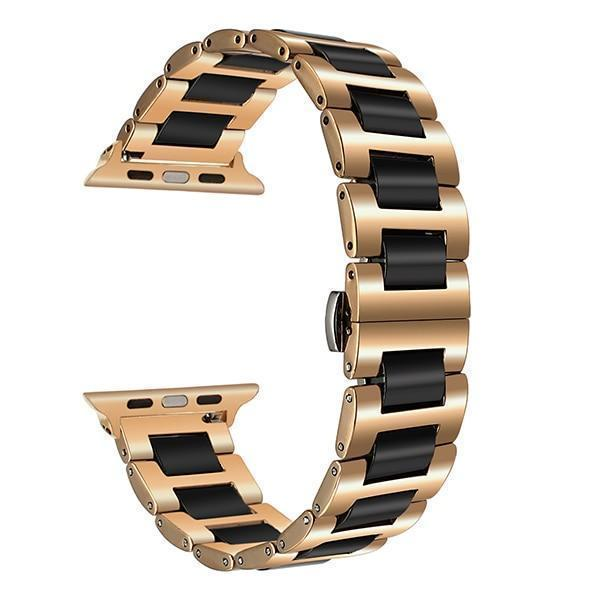 Apple Black Rose Gold / 38mm Ceramic + Stainless Steel Watchband for iWatch Apple Watch 38mm 40mm 42mm 44mm Series 1 2 3 4 Band Wrist Strap Bracelet