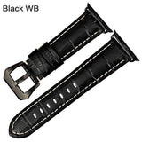 Apple Black WB / For Apple Watch 38mm Watchbands genuine cow leather watch strap for Apple Watch Band 42mm 38mm series 4 1 iwatch 4 44mm 40mm  watch bracelet