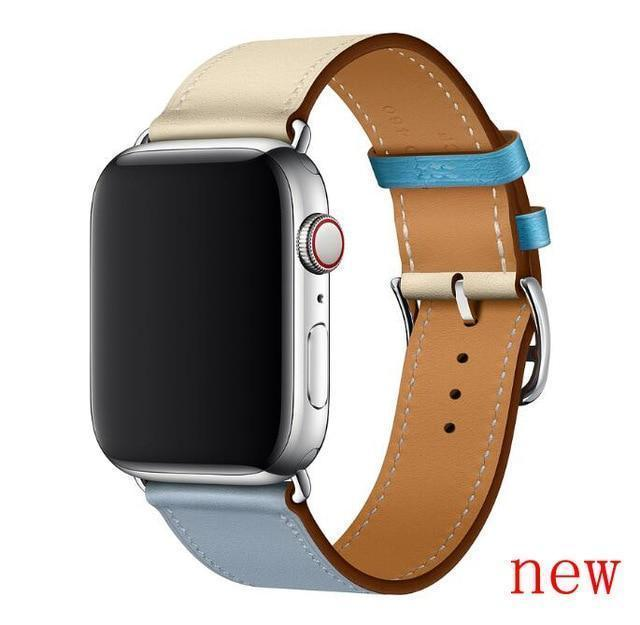 Apple Bleu Lin Craie / for 38mm and 40mm manufacturer Leather Loop for iwatch 4 3 2 1 Strap for Apple Watch Band 38mm 42mm 40mm 44mm Flower Design