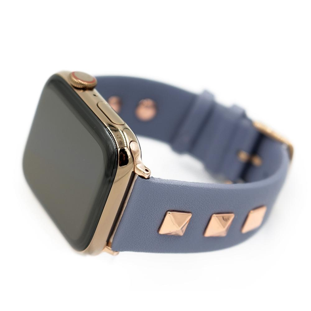 Apple Blue / 38mm / 40mm Apple Watch Series 5 4 3 2 Band, Punk gold Studded Leather Rivets Design, fits iWatch, 38mm, 40mm, 42mm, 44mm