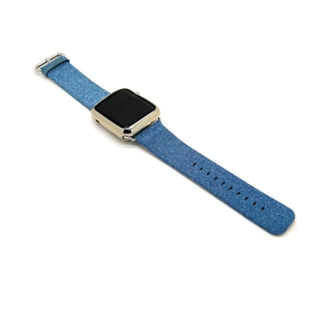 Apple Blue / 38mm/40mm Leopard Rainbow Bling Glitter Leather Band for Apple Watch Series 1 2 3 Strap 42mm 38mm Bracelet for iWatch Wristband