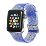 Apple blue / 38mm/40mm Sport Soft glitter Silicone Strap For Apple Watch Series 4 3 2 1 44mm 40mm 42mm 38mm Band Replacement Strap Wristband For iWatch Band - US Fast shipping