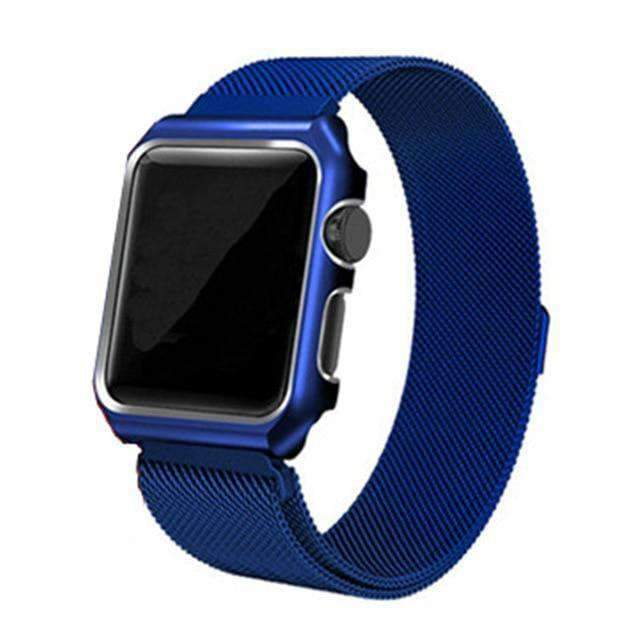 Apple blue / 38mm band case Apple Watch band Milanese mesh magnetic Loop stainless steel metal Strap & Watch Case bundle  42mm 44mm iwatch 4/3/2/1 38mm 40 mm Bracelet Watchband - USA Fast Shipping